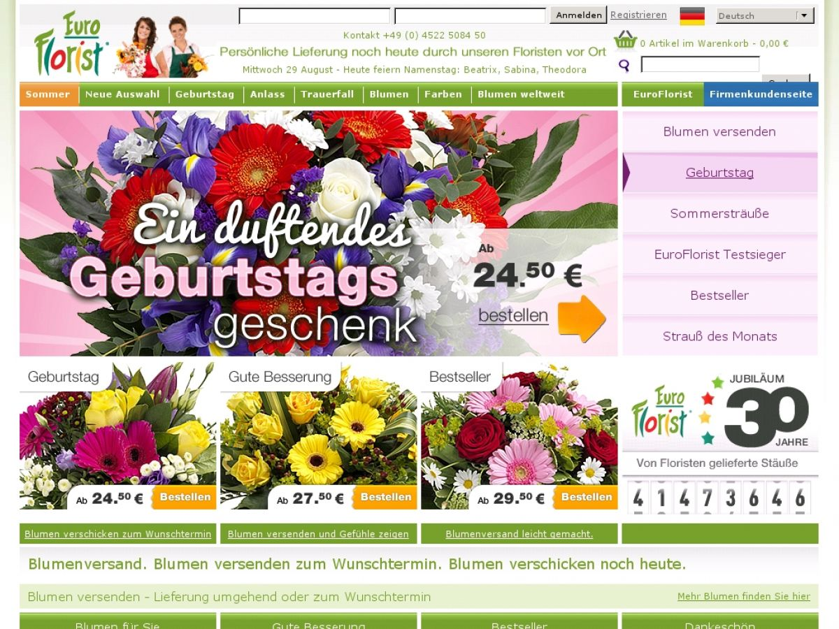 Euroflorist Blumen Verschicken